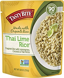 Tasty Bite Thai Lime Rice 8.80-Ounce (Pack of 6), Fragrant Thai-style Rice, Fully Cooked, Ready to Serve, Microwaveable, Vegan Gluten-Free No Preservatives