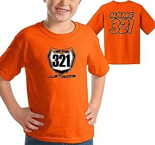 Youth Motocross Number Plate Shirt MX Moto Personalized Orange