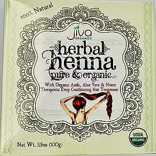 Jiva USDA Organic 100% Herbal Henna Powder 100 Gram - with Organic Amla, Aloe Vera & Neem!