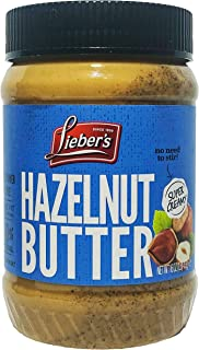 Lieber's Hazelnut Butter - 16oz - Super Creamy, Kosher, No Salt, No Sugar, 100% Natural, 0 Trans Fat, Vegan...