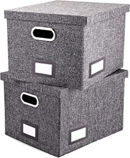 File Organizer Box Set of 2 - Collapsible Linen Filing Boxes for Easy File Folder Storage- Handles and Removable Lid | Organize Your Documents and Hanging Files in Style