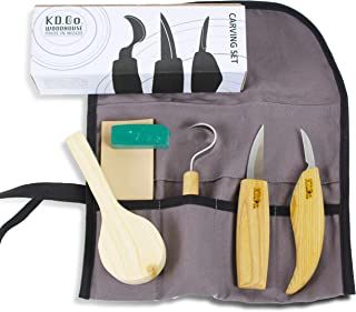 Wood Carving Tools kit & Carving Tools Set, Spoon Whittling kit for Beginners, 3 Knives with Hook Knife in Tools Roll, Spoon Blank + Carving eGuide