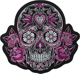 Hot Leathers Pink Sugar Skull and Roses Patch (Multicolor, 8