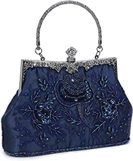 Women's Embroidered Beaded Sequin Evening Clutch Large Wedding Party Purse Vintage Bags