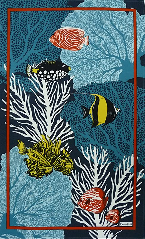 Beauville Tahiti French Kitchen Tea Towel Silk Screen Hand Printed 20 Inches X 31 Inches