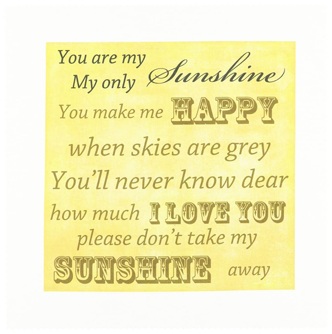 3dRose qs_79369_1 Vintage Songs You are My Sunshine-Love Songs-Quilt Square, 10 by 10-Inch