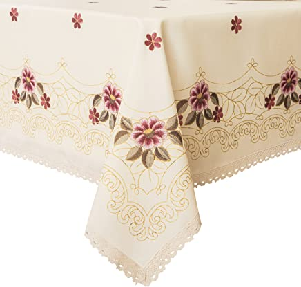 befad68b630 Wewoch Decorative Red Floral Print Lace Water Resistant Tablecloth Wrinkle  Free and Stain Resistant Fabric Tablecloths