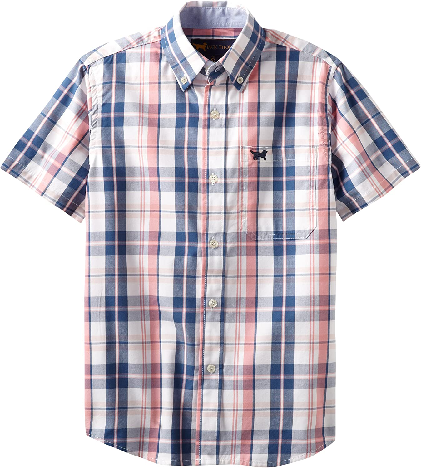 Wes and Willy Big Boys' Short Sleeve Pink Plaid Dress Shirt