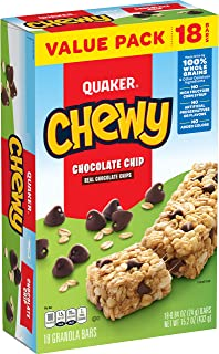 Quaker Chewy Granola Bars, Chocolate Chip, 18 Bars