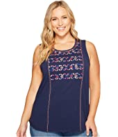 Lucky Brand - Plus Size Geo Embroidered Tank Top