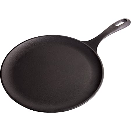 """Victoria Cast Iron Round Pan Comal Griddle Seasoned with 100% Kosher Certified Non-GMO Flaxseed Oil, 10.5"""", Black"""