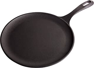 Victoria GDL-186 Cast Iron Round Pan Comal Griddle Seasoned with 100% Kosher Certified Non-GMO Flaxseed Oil, 10.5