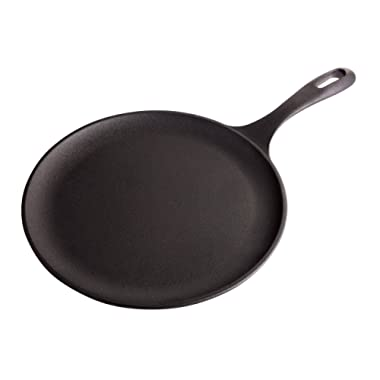Victoria Cast Iron Round Pan Comal Griddle Seasoned with 100% Kosher Certified Non-GMO Flaxseed Oil, 10.5 , Black