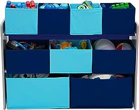 Delta Children Deluxe 9-Bin Toy Storage Organizer, Grey/Blue
