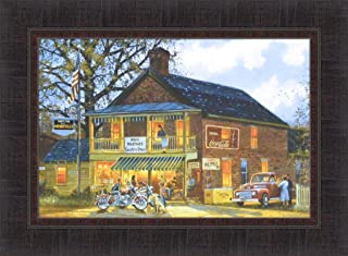 American Made by Dave Barnhouse 17x23 Harley Davidson Motorcycles Country Store Americana Framed Art Print Picture