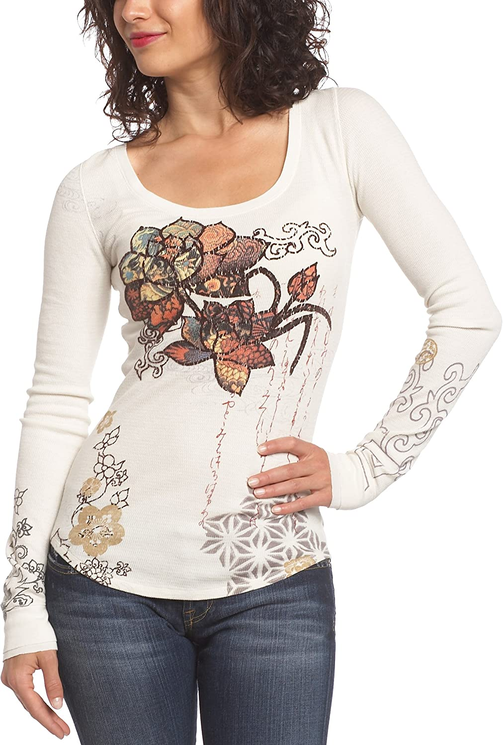 Lucky Brand Women's Tatto Flowers Thermal Top