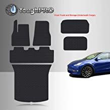 TOUGHPRO Floor Mat Accessories (Complete Set) Compatible with Tesla Model Y - 5 Seater - All Weather - Heavy Duty - Black Rubber - 2020