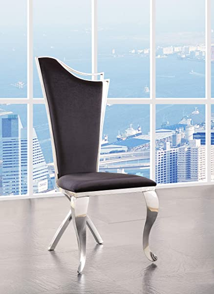 ACME Furniture 62079 Cyrene Side Chair Set Of 2 Fabric And Stainless Steel