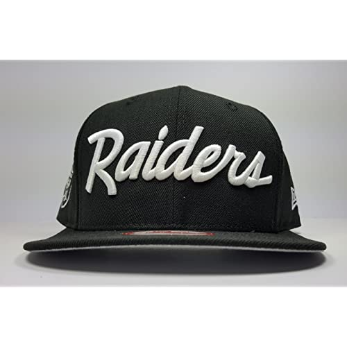 New Era Los Angeles Raiders 9Fifty Black and White Vintage Script N.W.A  Adjustable Snapback Hat NFL 4b32c9e314c