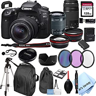 Canon EOS 90D DSLR Camera + 18-55mm f/3.5-5.6 is STM Lens + 75-300mm F/4-5.6 III Lens + 128GB Card, Tripod,Back-Pack,Filte...