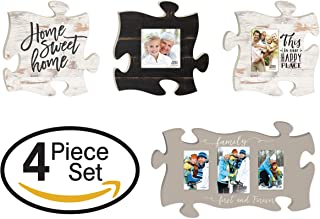 P. Graham Dunn Home Sweet Home Family Forever Puzzle Piece Interlocking Wall Plaque and Photo Frames Set of 4