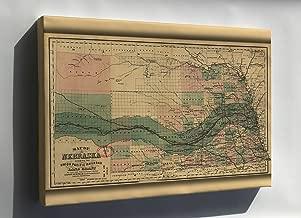 Canvas 16x24; Map Nebraska Union Pacific Railroad Grant 1879