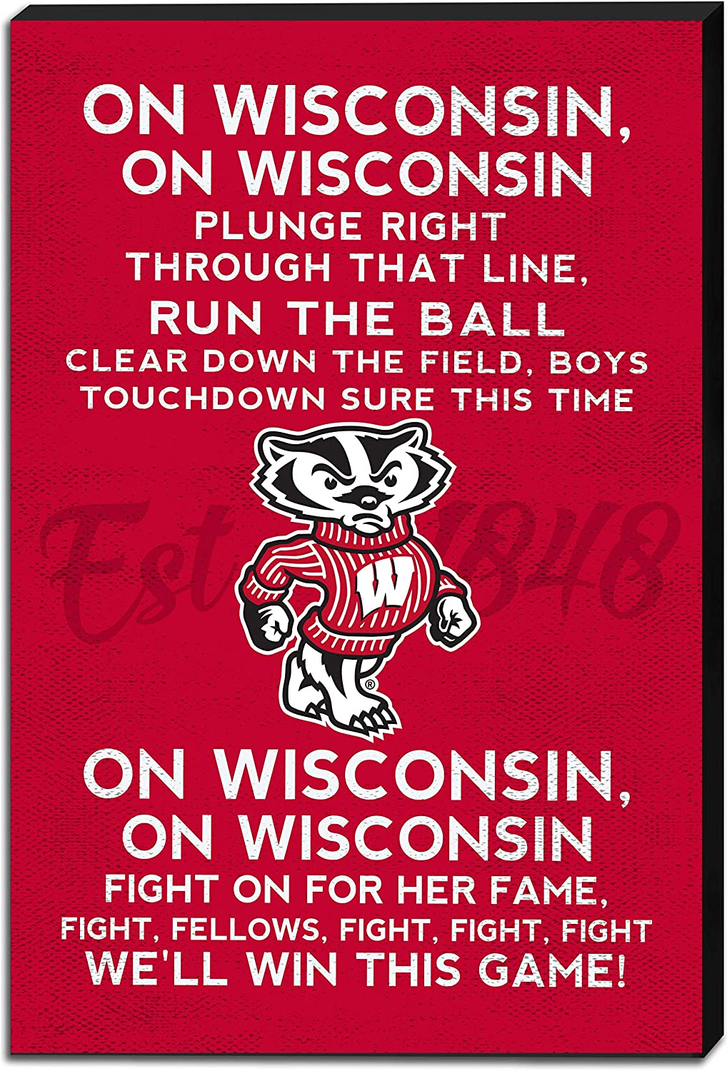 KH Sports Fan Wisconsin Badgers Sign Song 休日 Fight Canvas 与え 18