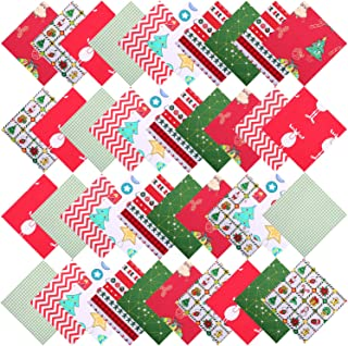 Aneco 40 Pieces Cotton Precut Fabric Christmas Printing Quilting Fabric Squares 9.8 Inches Different Pattern Sewing Patchwork Fabric Craft Hobby Fabric DIY Sewing Quilting Christmas DIY Fabric