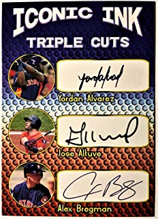 2019 YORDAN ALVAREZ, JOSE ALTUVE, ALEX BREGMAN Baseball Card - Houston Astros Iconic Ink Custom Baseball Card - Facsimile Autograph!