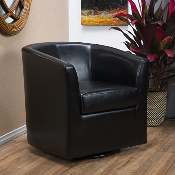 Great Deal Furniture 296637 Corley Leather Swivel Club Chair In Black