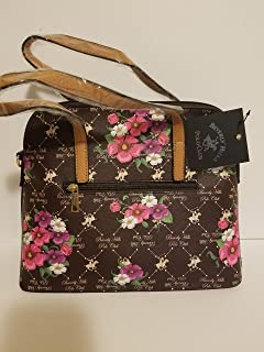 Beverly Hills Polo Club Womens Faux Leather Logo Printed Brown, tan and floral medium tote handbag