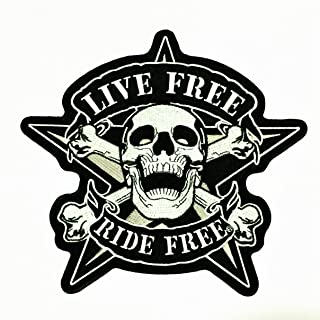 Patch Portal Live Free Ride Free Skull Crossbone Star 9 Inches Large Embroidery Motorcycle Biker Sewing Iron On Embroidere...