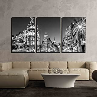 wall26 - 3 Piece Canvas Wall Art - Rays of Traffic Lights on Gran via Street, Main Shopping Street in Madrid - Modern Home Decor Stretched and Framed Ready to Hang - 16