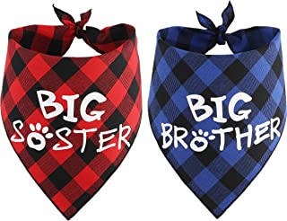 JPB Big Brother Big Sister Dog Bandana Baby Pregnancy Announcement Gender Reveal Bandanas for Dogs