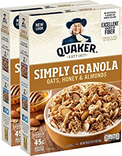 Quaker Simply Granola, Oats Honey & Almonds, 28oz Boxes (2 Pack)