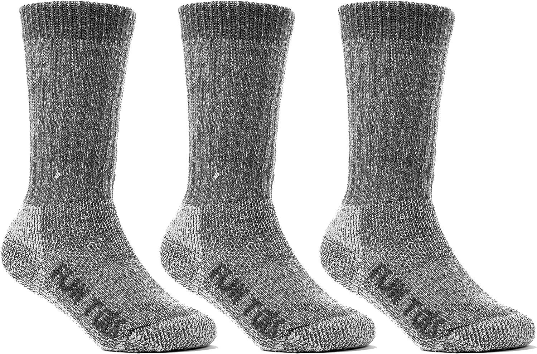 FUN TOES Children's 80% Thermal Merino Wool Socks 3 Pairs Mid Weight For Winter Ski Sport