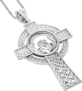Honolulu Jewelry Company Sterling Silver Claddagh Celtic Cross Pendant with 18