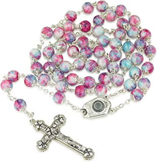 Marina Jewellery 手绘玻璃项链 Rosary,Jordan River Water Center,银镀,十字架