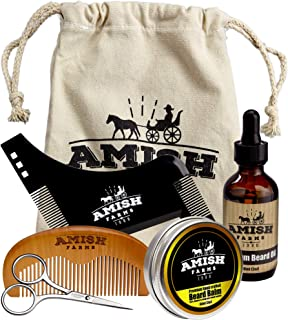 Amish Farms Beard Grooming Kit, 6 Piece Set – Leave In Beard Balm, Wooden Brush, Plastic Shaping Comb, Beard Oil and Stainless Steel Trimming Scissors - Cotton Storage Bag - Gift Package