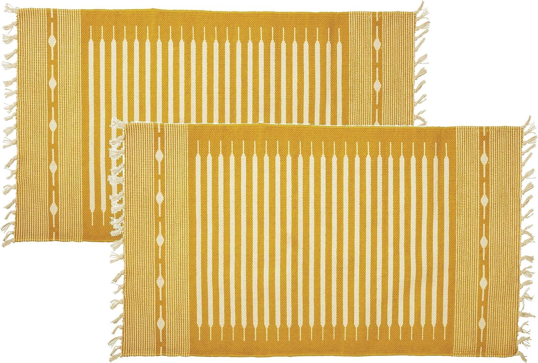 Mustard Yellow Rug Set Boho 3x2 Size Stripe 2 Oklahoma City Mall w Pack Muted Super-cheap White