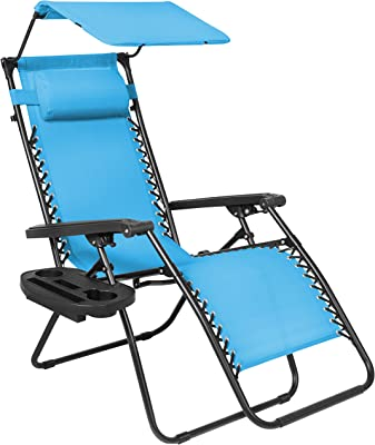 Picotech Zero Gravity Chair Steel Frame UV Resistant Weatherproof Sling Mesh Fabric Blue Durable Sturdy Detachable/adjustable Headrest Locking System Sunshade Accesorry Tray Portable Beach Barbecue