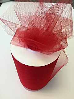 Tulle Fabric Spool/Roll 6 inch x 100 yards (300 feet), 34 Colors Available, On Sale Now! (red)
