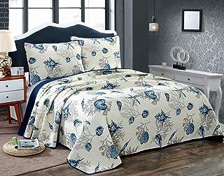 Blue Shell Tread Design 2 Piece Comforter Quilt Bedspeads Sets Cotton White&Blue (King)