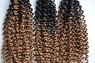 "Leyoo 14"" Water Wave Crochet Braids (100g/Bundle, 3 Bundles/Box) Deep Curly Crochet Braiding Hair Extension For Women and Kids (Ca 1B/27)"
