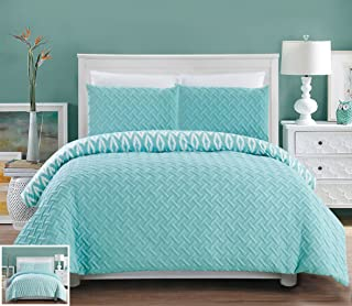 Chic Home 3 Piece Ora Heavy Embossed and Embroidered Quilted Geometrical Pattern Reversible Printed King Comforter Set Aqua
