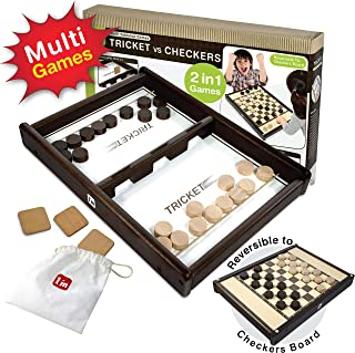 I'm Tricket VS Checkers: Wooden Multi Tabletop Indoor Portable Board Games for Kids and Family