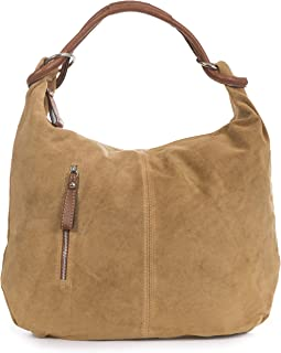 LiaTalia Womens Large Shoulder Handbag - Real Italian Suede Leather - Hobo Weekend Shopping Everyday Bag
