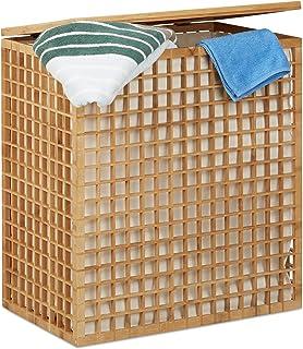 Relaxdays Panier à linge bambou coffre à linge 2 compartiments corbeille sac linge 96 litres HxlxP: 62x56x35 cm, nature