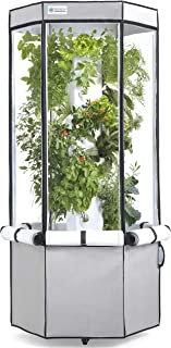 1500W Vertical Hydroponic Grow Kit: Tower, Tent, LEDs, and Fan - Aerospring Indoor Herb & Vegetable Garden - 27 Plant Grow System - Grey