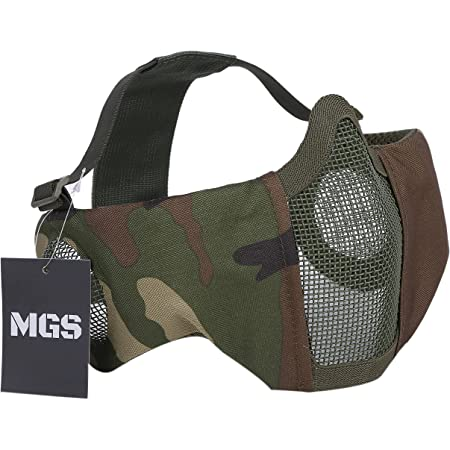 MGS サバゲー マスク フェイスガード メッシュ 頬付け可 COMBAT MAGAZINE 掲載商品 フリーサイズ (グリーン迷彩)
